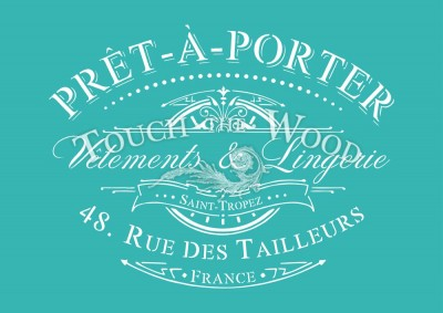 shabby chic stencil: vintage pret-a-porter french advert