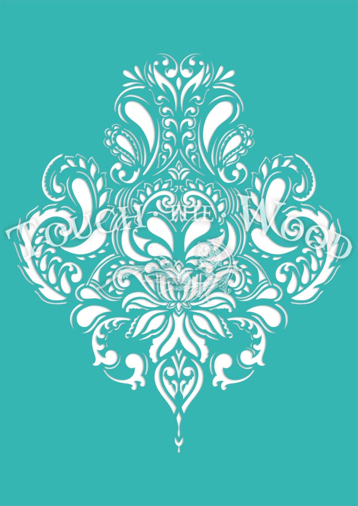 Shabby Chic Stencil Doodle Damask Wallpaper Pattern