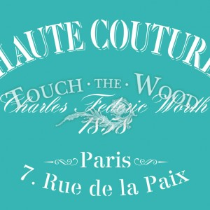 Shabby Chic Stencil - Vintage French Advert 'Haute Couture'