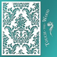 Shabby Chic Stencil: Floral Damask Wallpaper Pattern 01