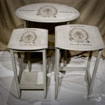 Vintage Shabby Chic French Style Nest of Tables painted with Annie Sloan's 'Original' and 'Paris Grey'