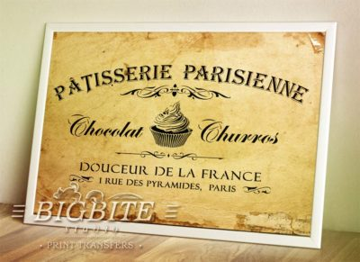 Preview of Vintage stencil French Patisserie Advert (frame)