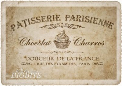 Preview (on old paper) of Vintage stencil French Patisserie Advert