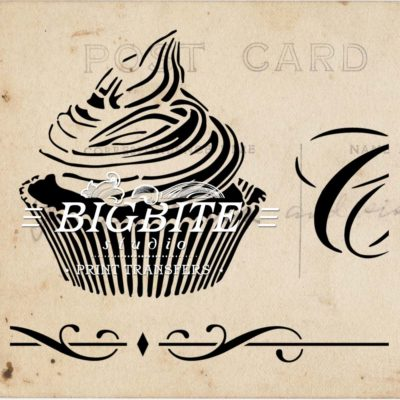 Detail of Vintage stencil French Patisserie Advert (cupcake)