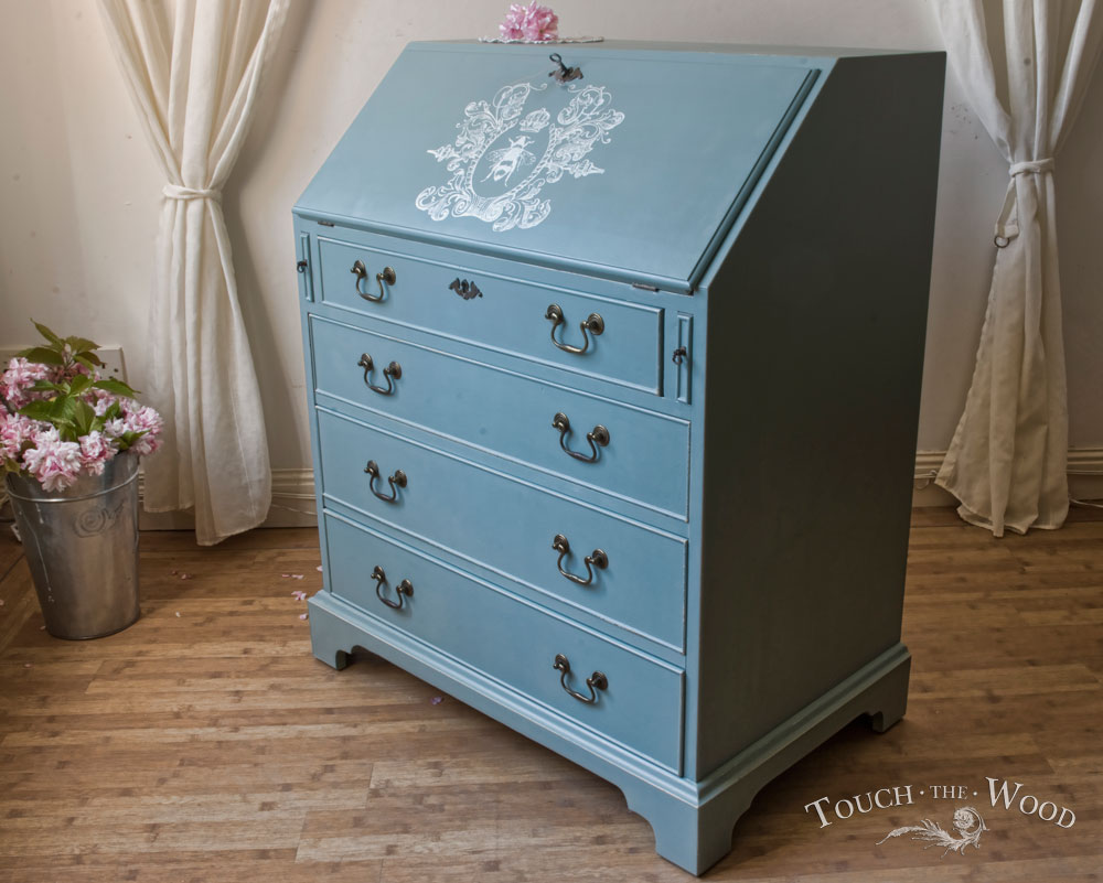 vintage shabby chic bureau no 10 custom makeover touch the wood. Black Bedroom Furniture Sets. Home Design Ideas