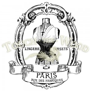 water decal print transfer vintage french corset