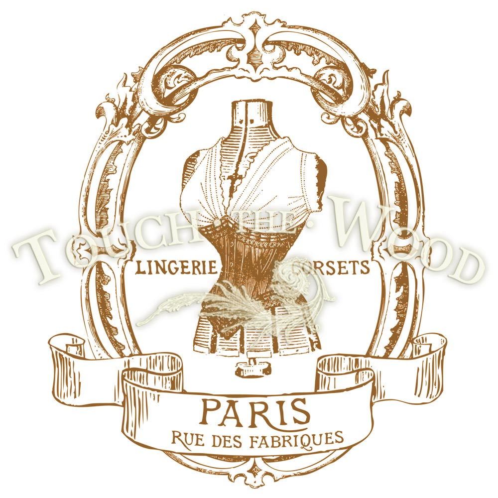 water decal print transfer vintage french corset sepia