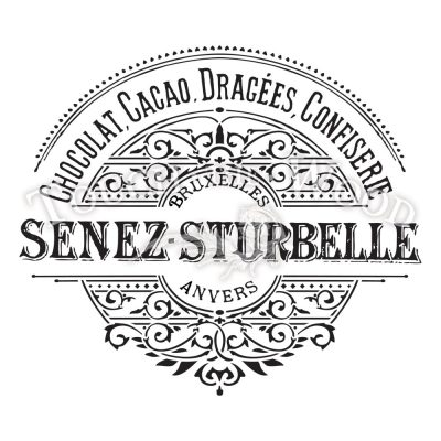 water decal print transfer - vintage french label senez strubelle chocolate factory